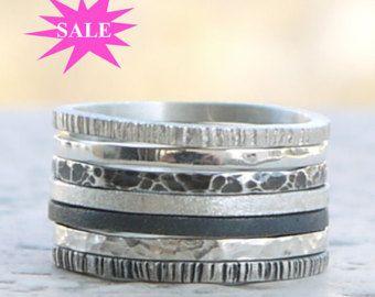 Sterling zilveren ringen set van 7  Skinny stapelen ringen