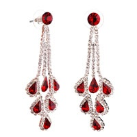 Pugster Red January Birthstone Crystal Chandelier Dangle Earrings