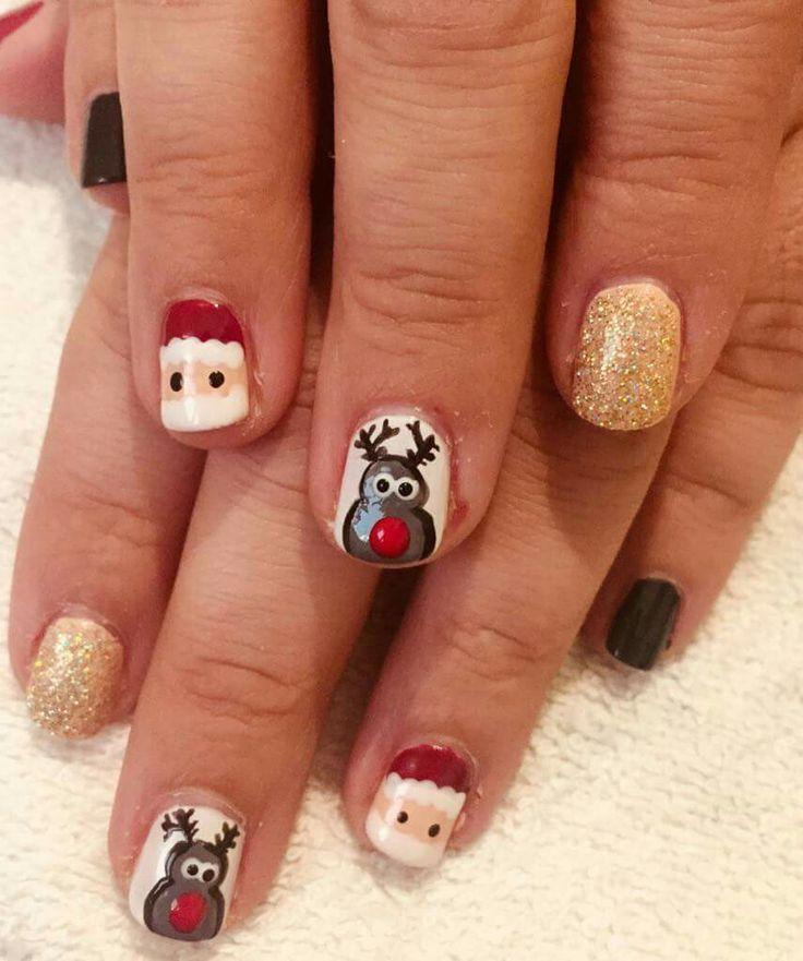 #nails #nail #nailart #naildesign #santanails #rudolph #christmas #christmasnails #red #glitter