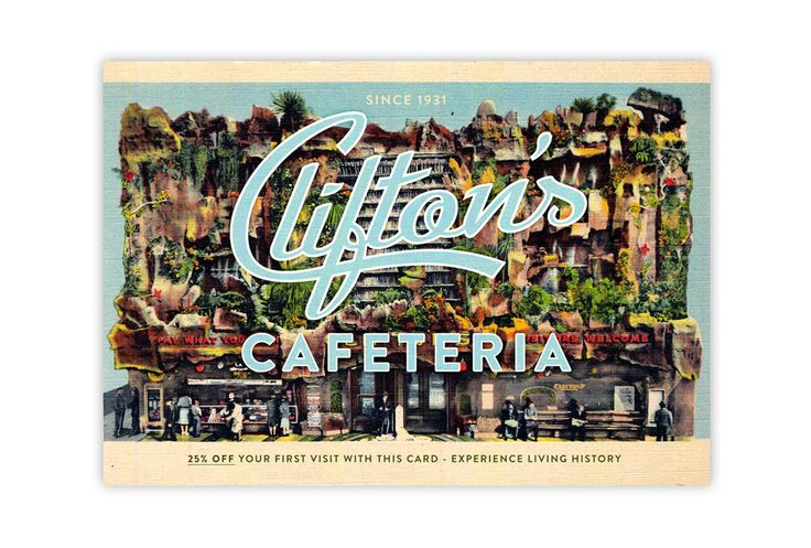 Postcard design for Clifton's in LA by United Creatives.