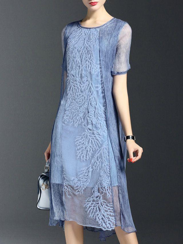 Crew Neck Short Sleeve Silk Vintage Midi Dress