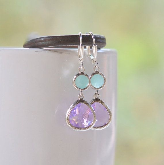 Lavender Purple and Aqua Circle Jewel Dangle Earrings by RusticGem, $30.00