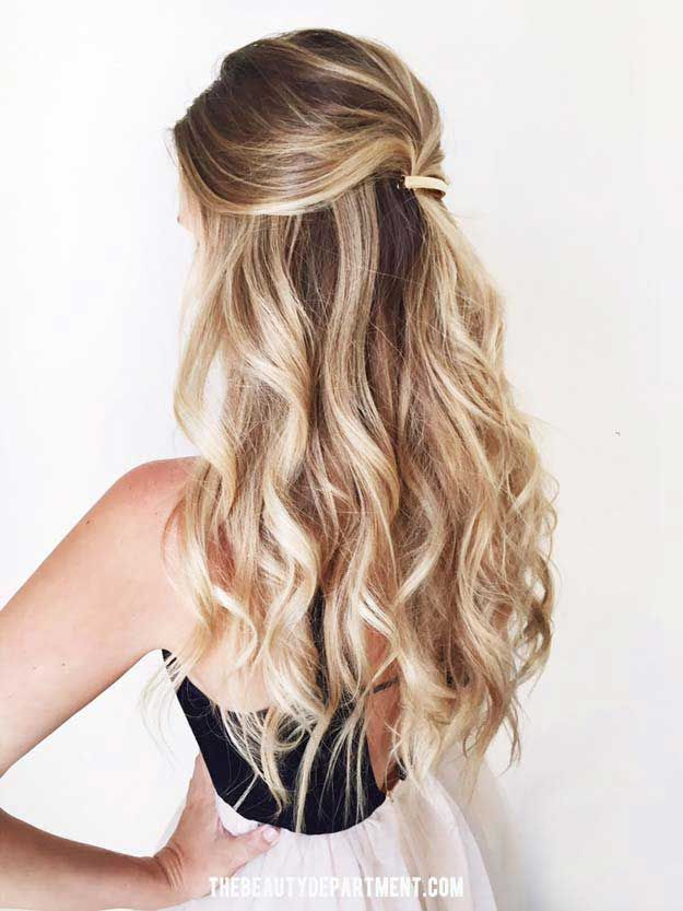Amazing Half Up-Half Down Hairstyles For Long Hair - One and Done - Easy Step By Step Tutorials And Tips For Hair Styles And Hair Ideas For Prom, For The Bridesmaid, For Homecoming, Wedding, And Bride. Try An Updo Or A Half Up Half Down Hairstyle For Long Hair Or A Casual Half Ponytail For Blonde Or Brunette Hair. Easy Tutorial For Straight Hair Including A Top Knot, Loose Curls, And The Simple Half Bun. Styles And Hairdos For Veils, For Summer, For Fall, And For Winter. Try Bangs And Bobby…