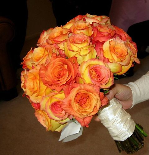 Bouquet Bridal: Orange and Yellow Roses Bridal Bouquet Pictures but with plum and lace ribbon wrapped around bottom