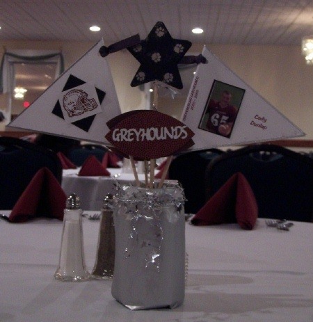 Sports banquet centerpieces football pinterest for Athletic banquet decoration ideas