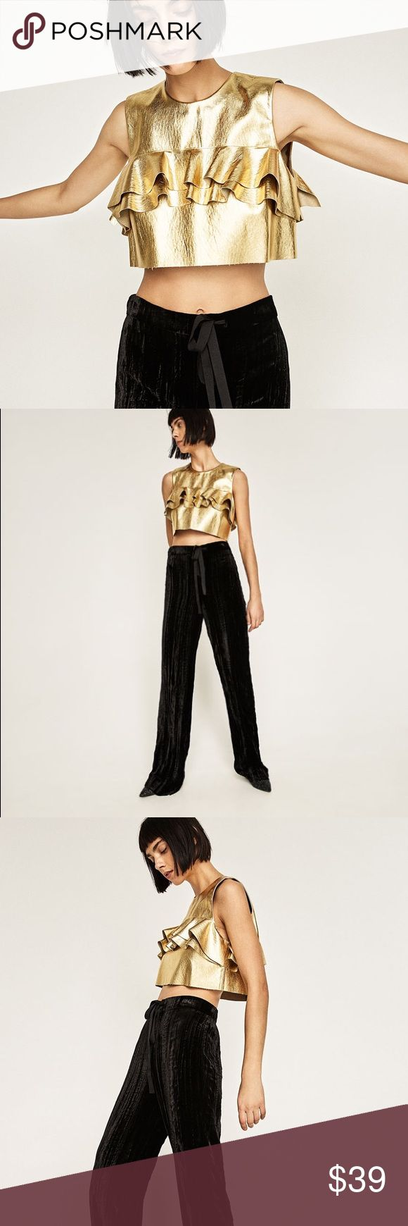 Zara metallic crop top Love ruffle details... you'll be noticed for sure... pair with high waisted bottoms Zara Tops Crop Tops