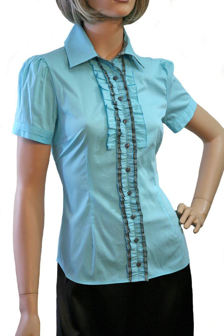 Бирюзовая блузка с коротким рукавом / Б801-1396-1336