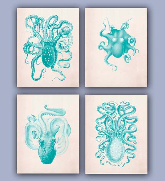 nautical octopus collection prints set of vintage in green turquoise beach cottage coastal living decor