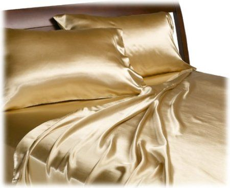 Amazon.com: Divatex Home Fashions Royal Opulence Satin Queen Sheet Set, Gold: Home & Kitchen