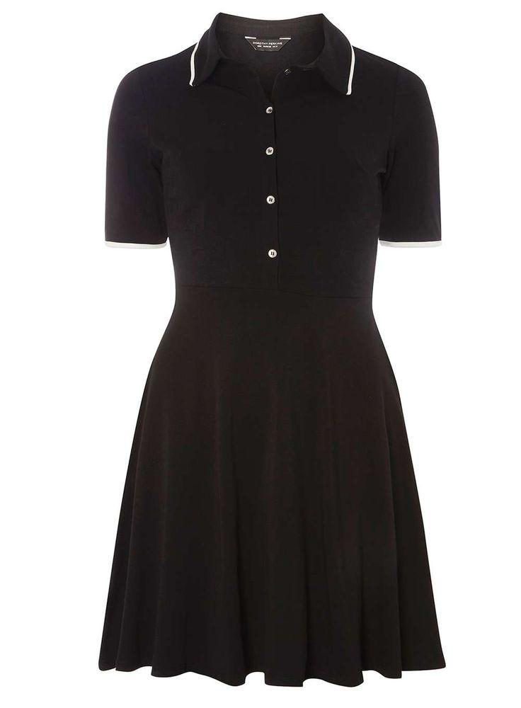Black and ivory button shirt dress