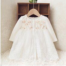 Retail-2016 outono recém-nascido vestido do bebê / macio e bonito floral lace princesa infantil vestido Baby girls dress mel roupas de bebê rosa(China (Mainland))
