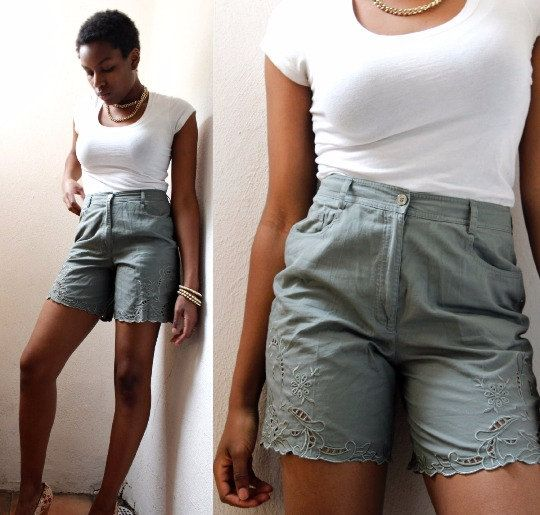 high waist cut out shorts olive green 90s boho by Thriftionary
