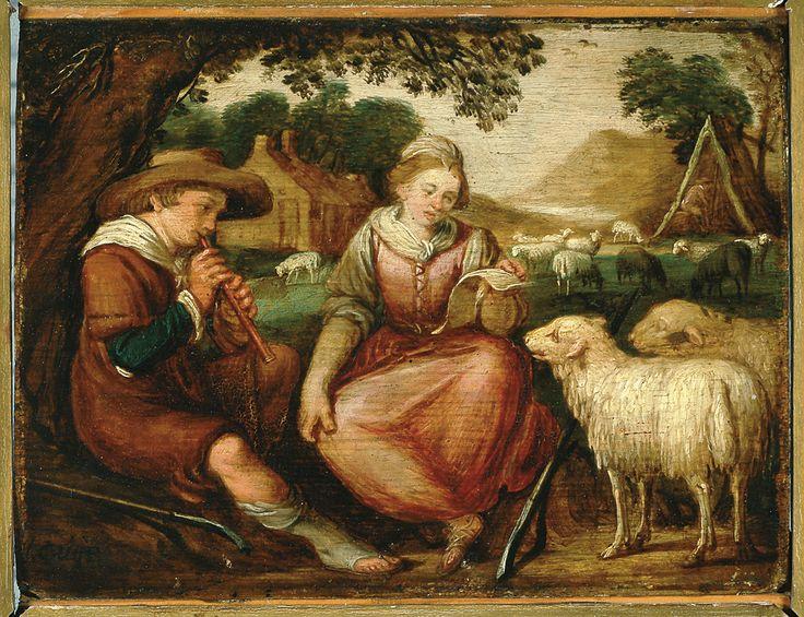 Arcadisch landschap met fluit spelende herder en zingende herderin - anoniem (1600/1650) Rrans Hals Museum