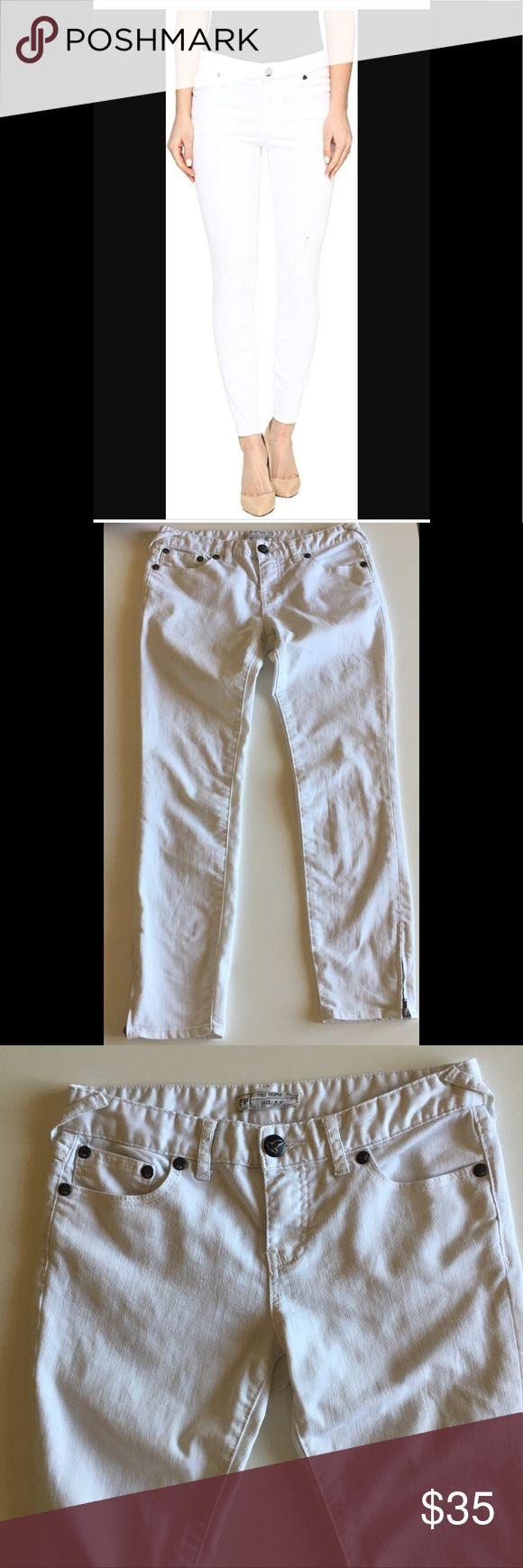 Free People Jeans Free people Jean Size 27  Color White With zippers on bottom sides Excellent Condition Free People Pants Skinny