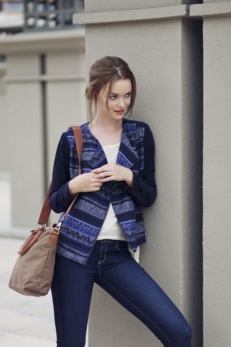 """A printed moto jacket and colorful purse is always a """"yes!"""""""