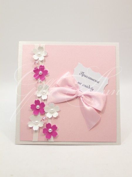 Приглашения на свадьбу ручной работы Gilliann Pink Flowers INV049, http://www.wedstyle.su/katalog/invitations/priglashenia-ruchnoy-raboti, #wedstyle, #свадебныеаксессуары, #приглашениянасвадьбу, #пригласительныенасвадьбу