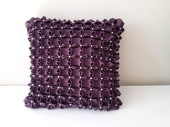Purple Decorative Pillow Smocked Pillow Canadian Smocking