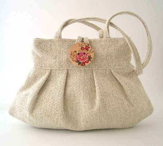 small tote bag beige purse womens handbag shoulder by daphnenen