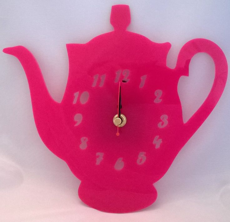 Handmade acrylic laser cut 'Tipsy The Teapot' clock! Designed and laser cut in Pembrokeshire, South West Wales