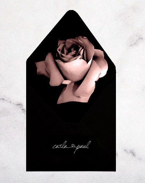 Black Amp Rose Wedding Invitation Envelope