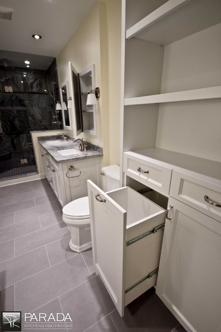 Custom Laundry Basket Pull Out Bathroom Design Ideas