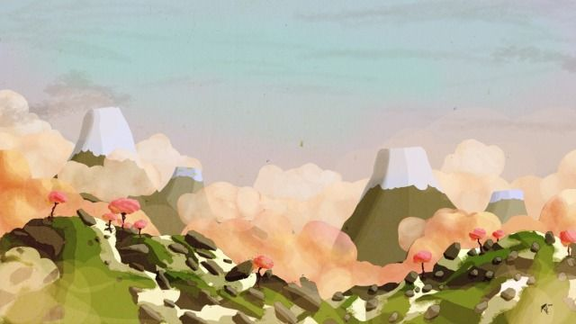 Japan inspired game concept Picture  (2d, landscape, speed painting, japan, concept art, mountains)