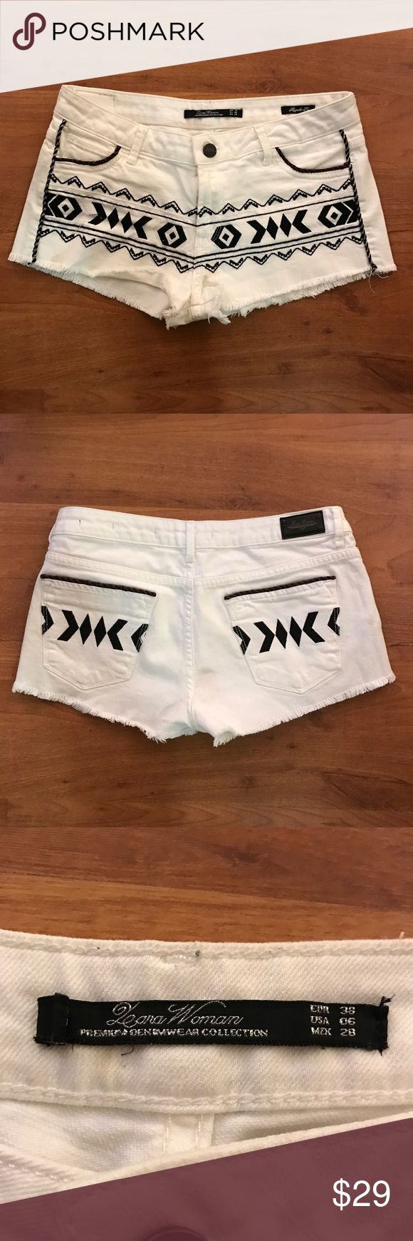 Zara shorts Zara white shorts with embroidery details Zara Shorts