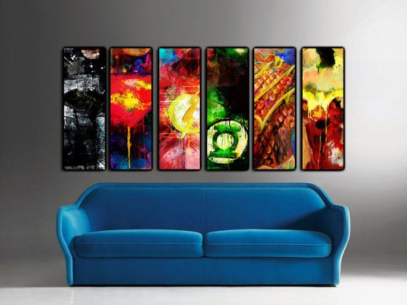 Choose any 1 of the 6 Justice League 12 x 36 x 1 1/2 by j2artist