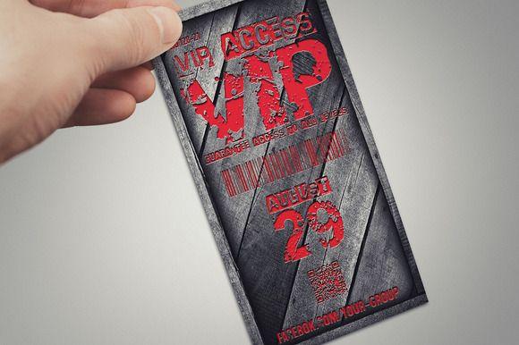 Stylish wooden VIP PASS card by Tzochko on Creative Market