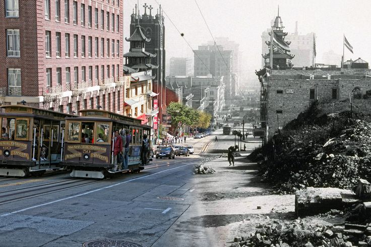 sf 1906 earthquake + today   Passing cable cars offer a view of the destruction of California Street. Old St. Marys Cathedral has escaped destruction.