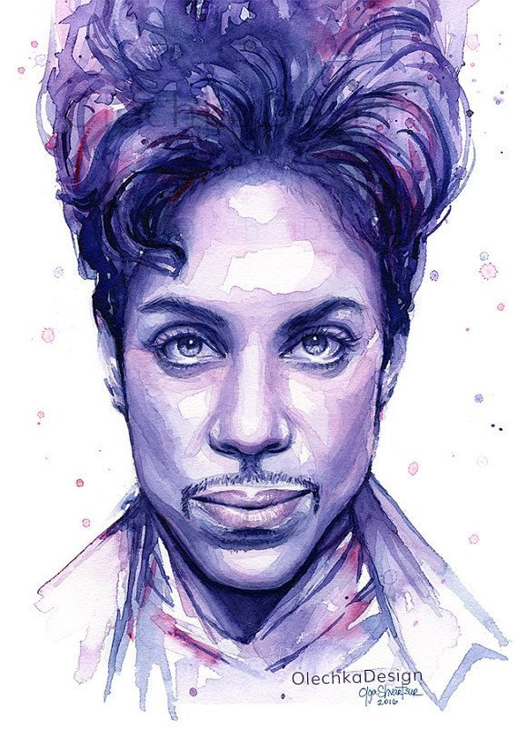 Prince Watercolor Portrait, Purple, Pink Colorful Art Print A high quality giclee print of my original painting of Prince in purples, blues and
