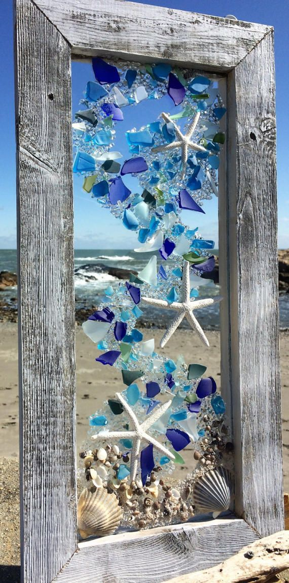 Beach glass panels with white starfish