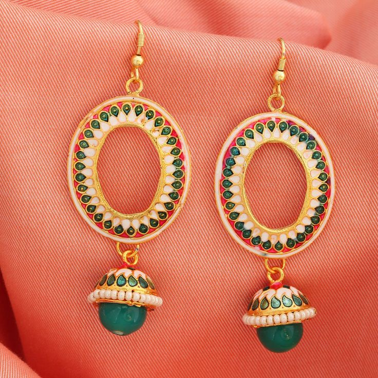Gold Plated Red Green Traditional Indian Bollywood Jhumka Jhumki Drop Earrings