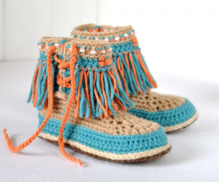 Baby Moccasin Fringe Booties For Kids Crochet Pattern
