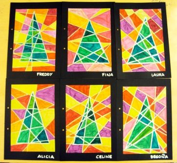 Graphic trees (Christmas art project, http://plastiquem.blogspot.com/2011/12/mes-tapes-dalbum.html?m=1)
