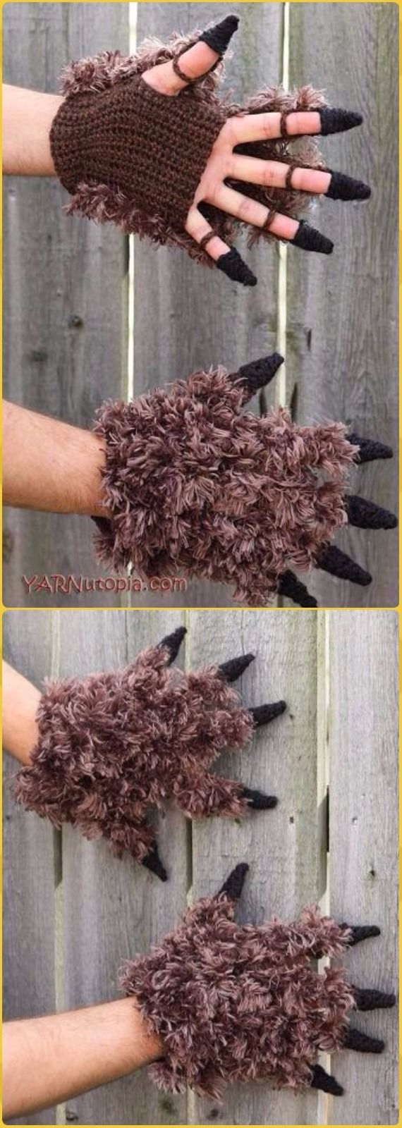 Crochet Beast Costume Gloves Free Pattern - Crochet Arm Warmer Free Patterns