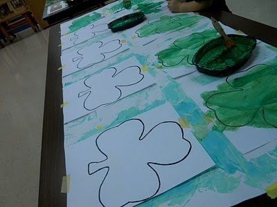 St. Patricks Day - Shamrock salt paintings - adding salt gives a sheen to the paint