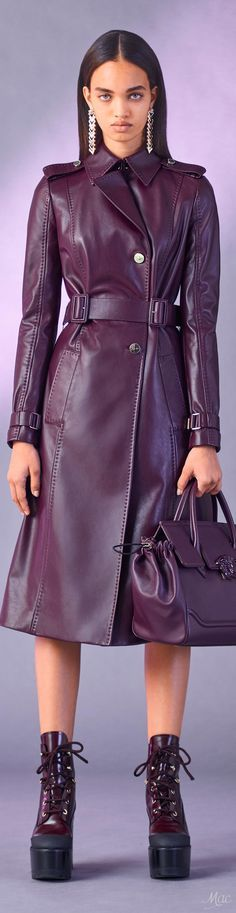@roressclothes clothing ideas #women fashion purple leather jacket Pre-Fall 2017 Versace