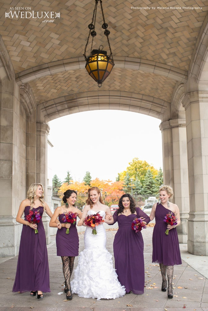 Bride and her bridesmaids outside the Fairmont Chateau Laurier. Photography By: Melanie Rebane. Via WedLux
