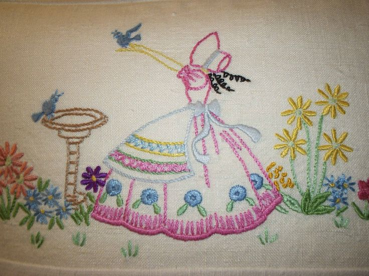 vintage embroidery - My mother had this one. I remember it being on a pillow case. wow - great memories