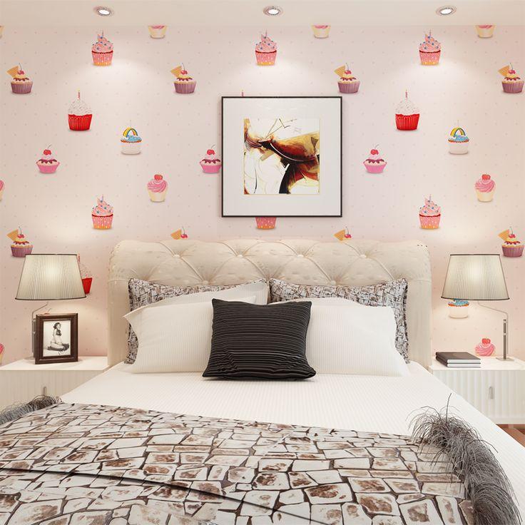Hanmero Экологичные Розовый Цвет Дети Спальня Обои Красивые 3D Кекс Pattern Водонепроницаемый Обои QZ0429 купить на AliExpress