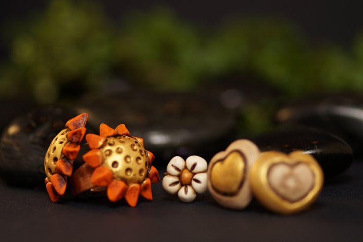 Anelli sole cuore fiore di EddyAllHandMade su Etsy
