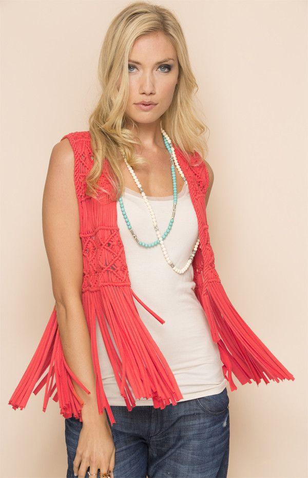 Beautiful Hand-Made Macramé Vest with long fringe. Get in touch with your free spirit. This piece is sure to turn heads! It's perfect to throw over your bikini paired with some denim cutoffs for a sun