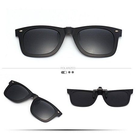 29ce75fd7270 nice Mirror Polarized Clip-on Flip up Plastic Sunglasses Lenses Cool Black  Ray Ban Clip on Sunglasses Clips for Eyeglasses Men and Women Use