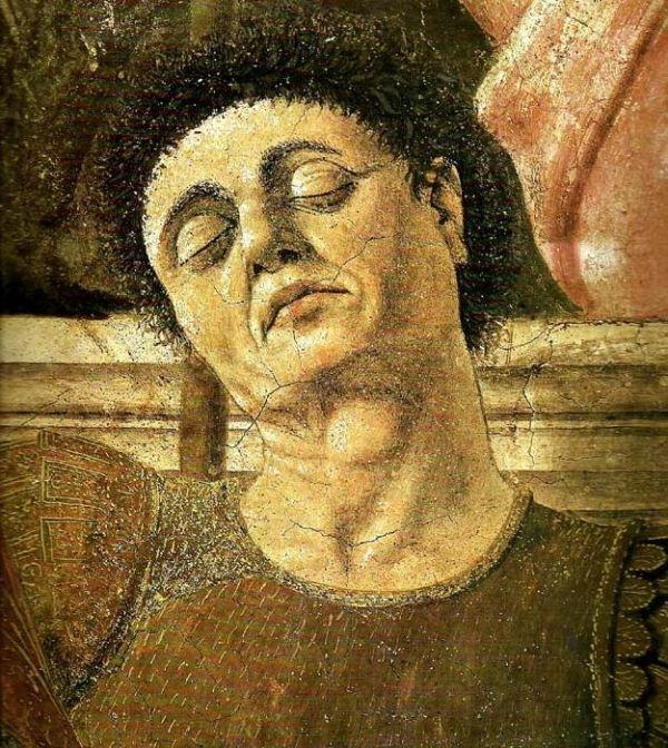 Cappella maggiore della basilica di San Francesco, Arezzo. Storie della Vera Croce - Particolare della Resurrezione, presunto ritratto di Piero.