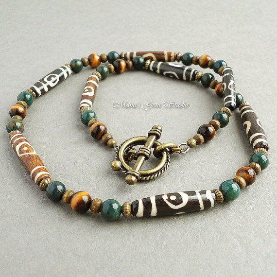 Mens Tribal Necklace Brown Bone Green Bloodstone by mamisgemstudio, $29.95