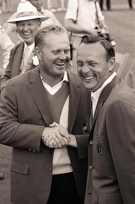 Jack Nicklaus and Arnold Palmer, 1965. Jack Nicklaus and Arnold Palmer exchanged green jackets for the fourth straight year in 1965.