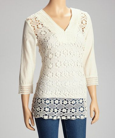 This Ivory Floral Crocheted Top is perfect! #zulilyfinds