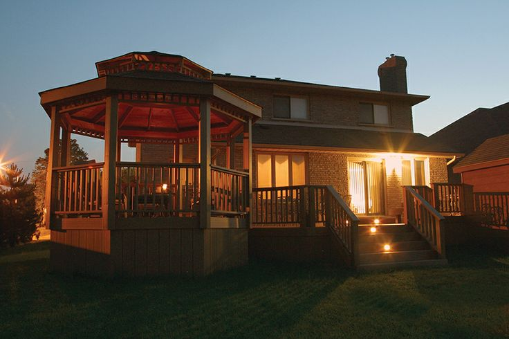 This all low maintenance deck and gazebo is in ancaster for Built in gazebo