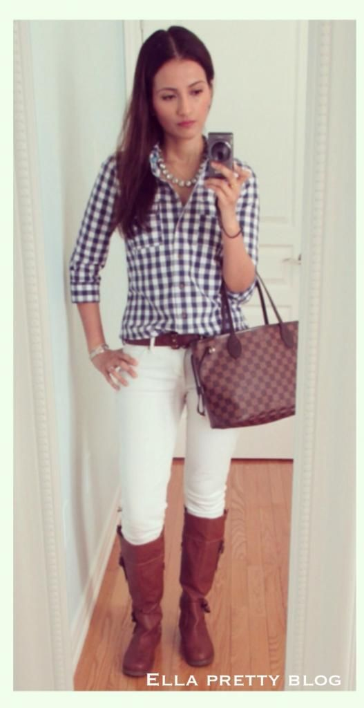 Ella Pretty: I just picked up a navy gingham shirt. Love the way it looks here with the white jeans, cognac riding boots, and tote. Add some pearls and viola!